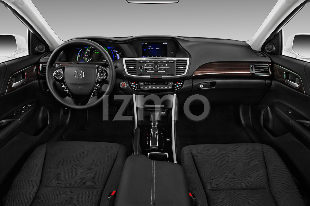 Stock photo of straight dashboard view of 2017 Honda Accord Hybrid 4 Door Sedan Dashboard