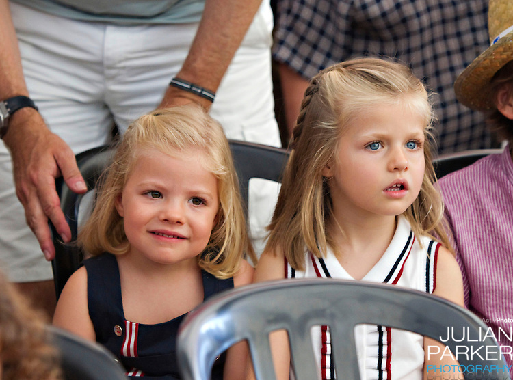 Crown Prince Felipe  and Crown Princess Letizia of Spain with their daughters, Princess Leonor, and  Princess Sofia attend a concert, at The Royal Yacht Club, in Palma, Mallorca on the third day of the Copa Del Rey sailing regatta..Princess Sofia, and Princess Leonor