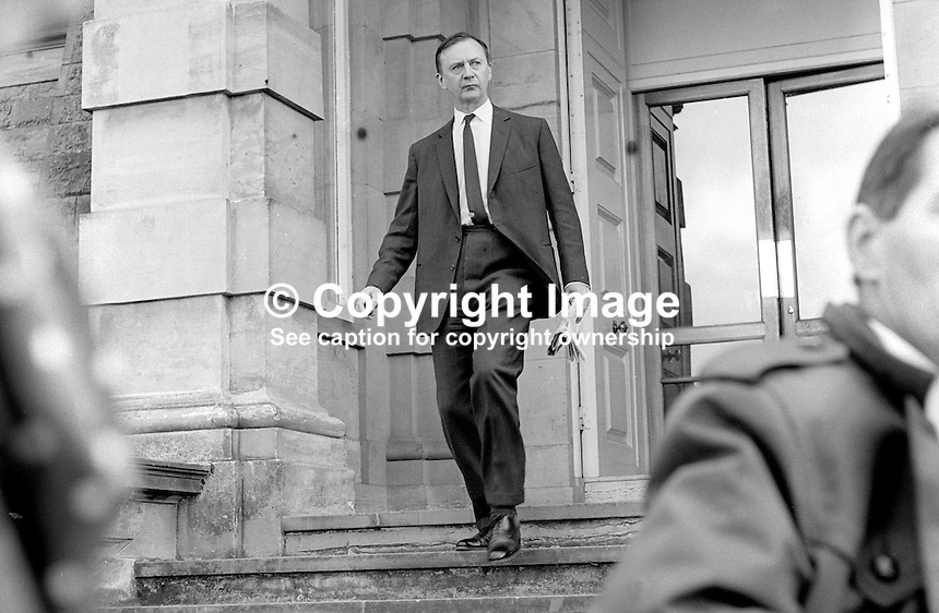 Howard Smith, representive in N Ireland for UK Government, emerging from Stormont Castle. 19710600037<br />