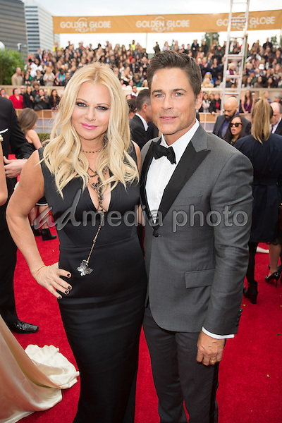 "Sheryl Berkoff and Rob Lowe, Golden Globe Nominee for BEST PERFORMANCE BY AN ACTOR IN A TELEVISION SERIES - MUSICAL OR COMEDY for ""The Grinder"", arrive at the 73rd Annual Golden Globe Awards at the Beverly Hilton in Beverly Hills, CA on Sunday, January 10, 2016. Photo Credit: HFPA/AdMedia"
