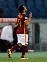 Calcio, Serie A: Roma vs Fiorentina. Roma, stadio Olimpico, 4 marzo 2016.<br /> Roma&rsquo;s Mohamed Salah celebrates after scoring his second goal during the Italian Serie A football match between Roma and Fiorentina at Rome's Olympic stadium, 4 March 2016.<br /> UPDATE IMAGES PRESS/Riccardo De Luca