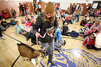NWA Democrat-Gazette/DAVID GOTTSCHALK Claire Mitchell brings Zelda into Washington Elementary School Wednesday, November 28, 2018, for an assembly where Ashley McLarty, principal and Ruth Mobley, assistant principal both kissed the goat at the school in Fayetteville. The kissing of the goat was a reward to the student body for collecting over 500 boxes of macaroni and cheese for the Northwest Arkansas Food Bank.