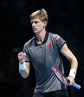 Kevin Anderson of South Africa celebrates during his match against Dominic Thiem of Austria <br /> <br /> Photographer Rob Newell/CameraSport<br /> <br /> International Tennis - Nitto ATP World Tour Finals Day 1 - O2 Arena - London - Sunday 11th November 2018<br /> <br /> World Copyright &copy; 2018 CameraSport. All rights reserved. 43 Linden Ave. Countesthorpe. Leicester. England. LE8 5PG - Tel: +44 (0) 116 277 4147 - admin@camerasport.com - www.camerasport.com