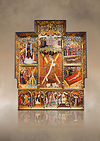 Gothic altarpiece dedicated to St Vincent by Bernat Martorell circa 1483-1440 in Barcelona, tempera and gold lef on wood from the Parish church of St Vincent of menarguens, Noguera, Spain. At the top of the central panels of the altar tryptic, replacing the traditional Calvery scene, can be seen in the centre the Virgin of Mercy and kneeling to the left is Sant Benet de Bages, in black, and to the right St. Bernard of Clairvaux, patron saint of thr Benedictine and Cistercian orders . Below this is a depiction of St Vincent and either side are scenes of the Mardom of Vincent. Along the bottom are scenes from the Passion of Christ, with Judas in a yellow tunic kissing Christ and a furious Peter cutting off the ear of Malcus. National Museum of Catalan Art (MNAC), Barcelona, Spain, inv 15797. Against a art background.