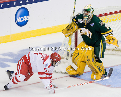 David Warsofsky (BU - 5), Rob Madore (Vermont - 29) - The Boston University Terriers defeated the University of Vermont Catamounts 5-4 on Thursday, April 9, 2009, in the 2009 Frozen Four Semi-Final at the Verizon Center in Washington, DC.