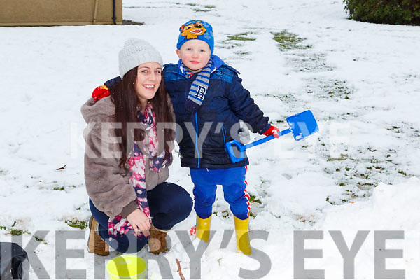 Tracy and Dylan Brosnan Killarney building snow castles in the Killarney National Park on Saturday