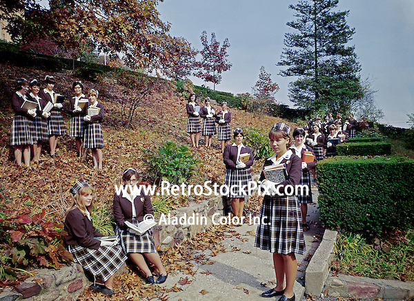 St. John Villa Academy. Teenager girls in school uniforms. 1959