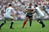 Josh Matavesi (Newcastle Falcons & Fiji) of Barbarians is tackled by Piers Francis of England during the Quilter Cup match between England and Barbarians at Twickenham Stadium on Sunday 27th May 2018 (Photo by Rob Munro/Stewart Communications)