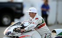 Sept. 1, 2012; Claremont, IN, USA: NHRA pro stock motorcycle rider Kieth Burley during qualifying for the US Nationals at Lucas Oil Raceway. Mandatory Credit: Mark J. Rebilas-