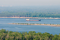 Barge going by podgory village in Volga near Samara