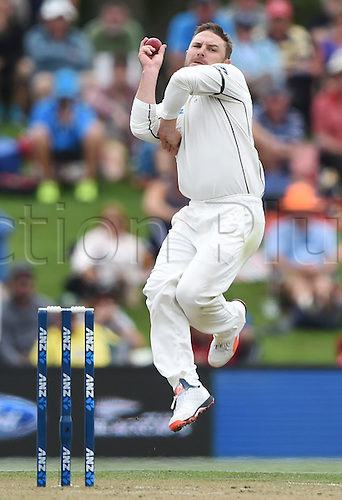 22.02.2016. Christchurch, New Zealand.  Brendon McCullum bowling on Day 3 of the 2nd test match. New Zealand Black Caps versus Australia. Hagley Oval in Christchurch, New Zealand. Monday 22 February 2016.