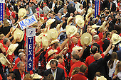 St. Paul, MN - September 2, 2008 -- Members of the Texas delegation wave their hats at the 2008 Republican National Convention in St. Paul, Minnesota on Tuesday, September 2, 2008..Credit: Ron Sachs / CNP.(RESTRICTION: NO New York or New Jersey Newspapers or newspapers within a 75 mile radius of New York City)