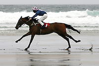 The Carrowniskey Beach Races, Louisburgh, County Mayo, Ireland. The last races took place in 1982.<br /> Picture James Horan