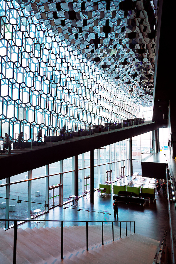 Stairway and glass ceiling of the Harpa Concert Hall and Conference Centre, Reykjavik, Iceland