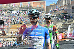Enrico Barbin (ITA) Bardiani CSF Maglia Azzurra signs on before the start of Stage 4 a 202km very hilly stage running from Catania to Caltagirone, Sicily, Italy. 8th May 2018.<br /> Picture: LaPresse/Gian Mattia D'Alberto | Cyclefile<br /> <br /> <br /> All photos usage must carry mandatory copyright credit (&copy; Cyclefile | LaPresse/Gian Mattia D'Alberto)