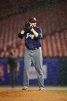 Lehigh Valley IronPigs relief pitcher Michael Mariot (31) gets ready to deliver a pitch in the pouring rain during a game against the Buffalo Bisons on July 9, 2016 at Coca-Cola Field in Buffalo, New York.  Lehigh Valley defeated Buffalo 9-1 in a rain shortened game.  (Mike Janes/Four Seam Images)