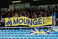Oxford United supporters with a banner reading 'Moungre' during the Sky Bet League 1 match between Peterborough and Oxford United at the ABAX Stadium, London Road, Peterborough, England on 30 September 2017. Photo by David Horn.