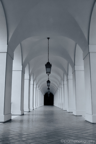 Long corridor in old building
