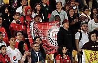 BOGOTÁ-COLOMBIA, 16-01-2020: Hinchas de América de Cali animan a su equipo, durante partido entre América de Cali y Deportivo Cali, por el Torneo ESPN 2020, jugado en el estadio Nemesio Camacho El Campin de la ciudad de Bogotá. / Fans América de Cali, cheer for their team during a match between America de Cali and Deportivo Cali, for the ESPN Tournament 2020, played at the Nemesio Camacho El Campin stadium in the city of Bogota. Photo: VizzorImage / Luis Ramírez / Staff.