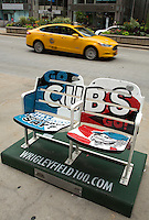 26 JUN 2014 - CHICAGO, USA - One of the seats on Michigan Avenue in Chicago in the USA to commemorate the Chicago Cubs baseball team's 100th anniversary (PHOTO COPYRIGHT © 2014 NIGEL FARROW, ALL RIGHTS RESERVED)