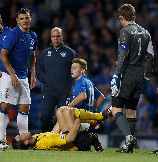 Lewis Macleod looks dazed after being involved in a collision