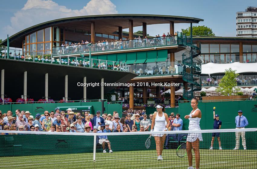 London, England, 5 th. July, 2018, Tennis,  Wimbledon, Womans doubles: Lesley Kerkhove (NED) and Lidziya Marozava (BLR) (L)<br /> Photo: Henk Koster/tennisimages.com