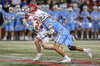 College Park, MD - April 27, 2019: Maryland Terrapins Justin Shockey (3) wins the face off during the game between John Hopkins and Maryland at  Capital One Field at Maryland Stadium in College Park, MD.  (Photo by Elliott Brown/Media Images International)