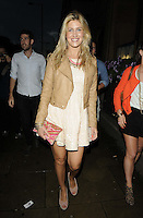 Francesca 'Cheska' Hull.attended the Kensington Club new boutique nightclub launch party, The Kensington Club, High Street Kensington, London, England,.20th July 2012..full length brown tan beige leather jacket  pink clutch bag dress sequined sequin white cream .CAP/CAN.©Can Nguyen/Capital Pictures.