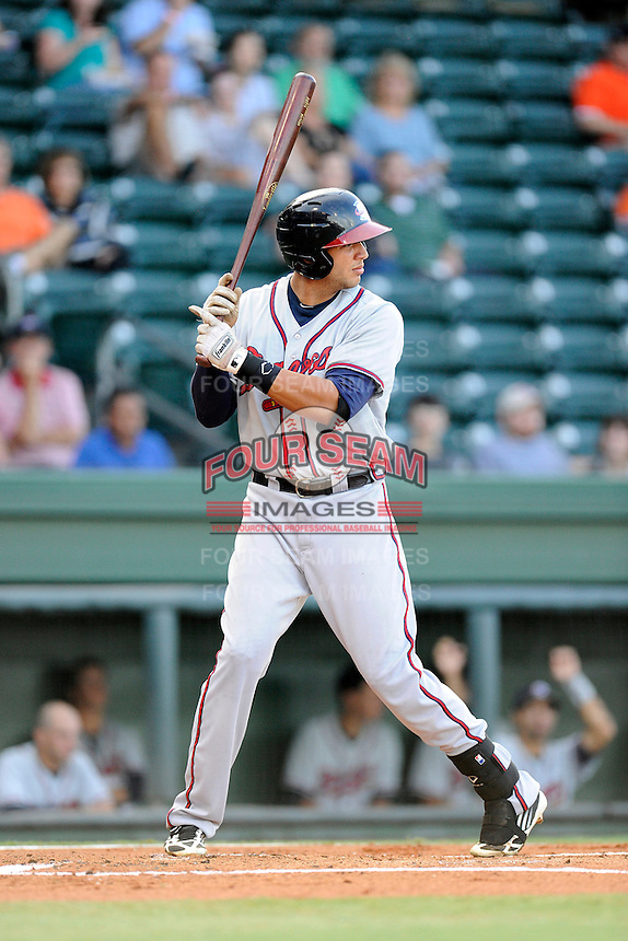 First baseman Edison Sanchez (2) of the Rome Braves bats bats in a game against the Greenville Drive on Wednesday, August 21, 2013, at Fluor Field at the West End in Greenville, South Carolina. Rome won, 6-2. (Tom Priddy/Four Seam Images)