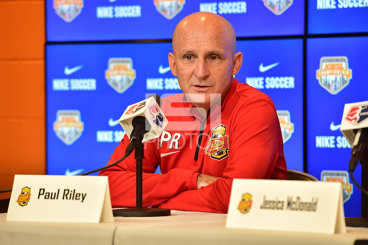 Houston, TX - Saturday Oct. 08, 2016: Paul Riley during a press conference prior to the National Women's Soccer League (NWSL) Championship match between the Washington Spirit and the Western New York Flash at Houston Sports Park.