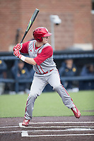 Indiana Hoosiers outfielder Logan Sowers (51) at bat against the Michigan Wolverines during the NCAA baseball game on April 21, 2017 at Ray Fisher Stadium in Ann Arbor, Michigan. Indiana defeated Michigan 1-0. (Andrew Woolley/Four Seam Images)