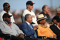 SAN FRANCISCO, CA - AUGUST 11:  Former San Francisco Giants players Willie McCovey, Juan Marichal, and Orlando Cepeda watch the ceremony to retire the #25 jersey of Barry Bonds before the game between the Pittsburgh Pirates and San Francisco Giants at AT&T Park on Saturday, August 11, 2018 in San Francisco, California. (Photo by Brad Mangin)