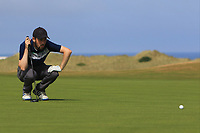 Conor Ryan (Dun Laoghaire) on the 16th green during Round 2 - Strokeplay of the North of Ireland Championship at Royal Portrush Golf Club, Portrush, Co. Antrim on Tuesday 10th July 2018.<br /> Picture:  Thos Caffrey / Golffile