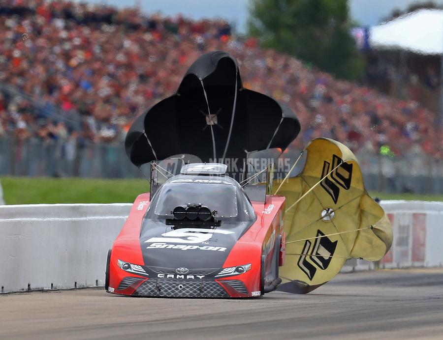 May 20, 2017; Topeka, KS, USA; NHRA funny car driver Cruz Pedregon during qualifying for the Heartland Nationals at Heartland Park Topeka. Mandatory Credit: Mark J. Rebilas-USA TODAY Sports