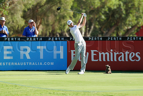 27.02.2016. Perth, Australia. ISPS HANDA Perth International Golf. Gregory Bourdy (FRA) tees off on the third hole during day 3.