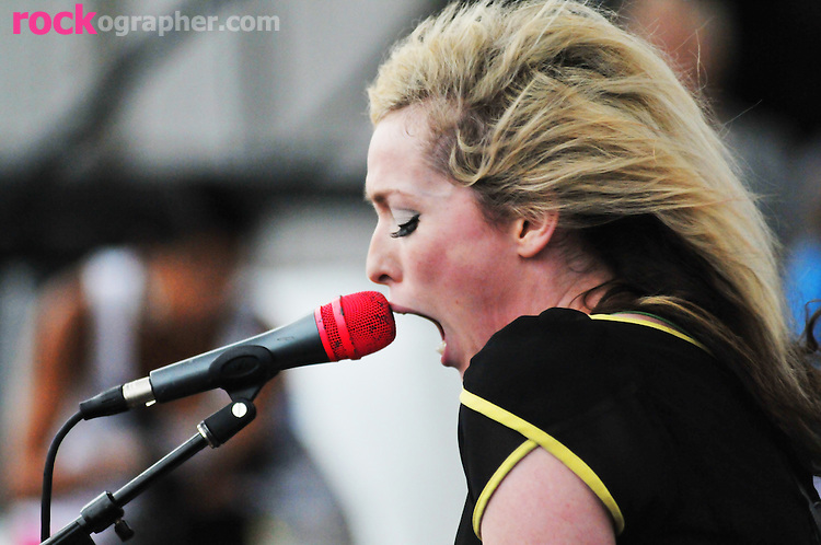 Katie White of English Duo The Ting Tings performs at the Pool Parties Concert Series, McCarren Park, Brooklyn NYC