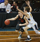SIOUX FALLS, SD - MARCH 9:  Dylan Phair #10 of Indiana Tech drives on Christian Stewart #30 of Marian at the 2018 NAIA DII Men's Basketball Championship at the Sanford Pentagon in Sioux Falls. (Photo by Dick Carlson/Inertia)