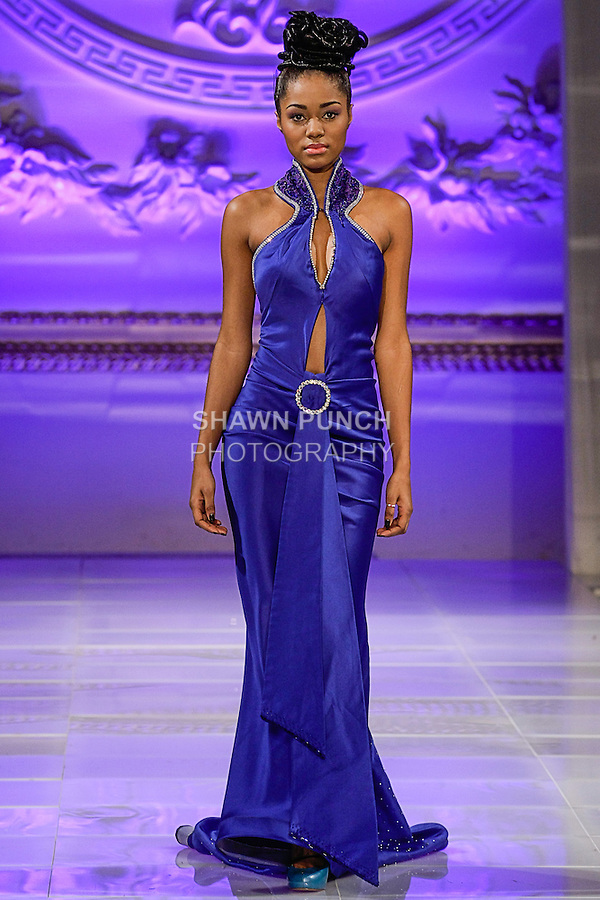 Model walks runway in an outfit from the Lourdes Atencio Fall 2013 Couture collection, during Couture Fashion Week New York Fall 2013, on February 15, 2013.