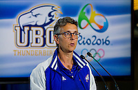 06 July 2016:  UBC at the 2016 Rio Olympic  and Paralympic Games press conference.  UBC President Designate Professor Santa Ono hosted a sendoff for UBC athletes, coaches and support staff headed to the 2016 Rio de Janeiro Olympic and Paralympic Summer Games. UBC&rsquo;s Rio 2016 contingent is the largest of any Canadian university.  Twenty-nine current and former UBC student athletes are part of Team Canada&rsquo;s roster while another 17 members of the UBC community will be in Brazil as coaches, management, support staff, and medical and paramedical personnel for Team Canada and the Canadian Olympic Committee. Together, those 17 individuals have more than 175 years of Olympic and Paralympic experience.  Ono was joined by Olympic swimmer Martha McCabe, UBC Interim President and Vice Chancellor David Farrar, Canadian Olympic Committee president and UBC alum Tricia Smith, Vice President of Students Louise Cowin and Senior Athletics Director Gilles Lepine.<br /> <br /> UBC participants attending the event:<br /> Byron Green (Athlete) &ndash; Wheelchair Rugby<br /> Travis Murao (Athlete) &ndash; Wheelchair Rugby<br /> Yuri Kisil (Athlete) &ndash; Swimming<br /> Martha McCabe (Athlete) &ndash; Swimming<br /> Emily Overholt (Athlete) &ndash; Swimming<br /> Erika Seltenreich-Hodgson (Athlete) &ndash; Swimming<br /> Markus Thormeyer (Athlete) &ndash; Swimming<br /> David Carter (Athlete) &ndash; Men&rsquo;s Field Hockey<br /> Taylor Curran (Athlete) &ndash; Men&rsquo;s Field Hockey<br /> Gordon Johnston (Athlete) &ndash; Men&rsquo;s Field Hockey<br /> Ben Martin (Athlete) &ndash; Men&rsquo;s Field Hockey<br /> Mark Pearson (Athlete) &ndash; Men&rsquo;s Field Hockey<br /> Keegan Pereira (Athlete) &ndash; Men&rsquo;s Field Hockey<br /> Matt Sarmento (Athlete) &ndash; Men&rsquo;s Field Hockey<br /> Scott Tupper (Athlete) &ndash; Men&rsquo;s Field Hockey<br /> Tom Johnson (Coach/Support Staff) &ndash; Swimming<br /> Steve Price (Coach/Support Staff) &ndash; Swimming<br /> Andr