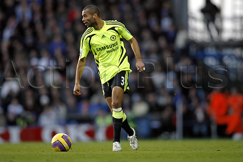 2 February 2008: Chelsea  defender Ashley Cole with the ball during the Premier League game between Portsmouth and Chelsea, played at Fratton park. The game finished 1-1. Photo: Actionplus....080202 football soccer player premiership