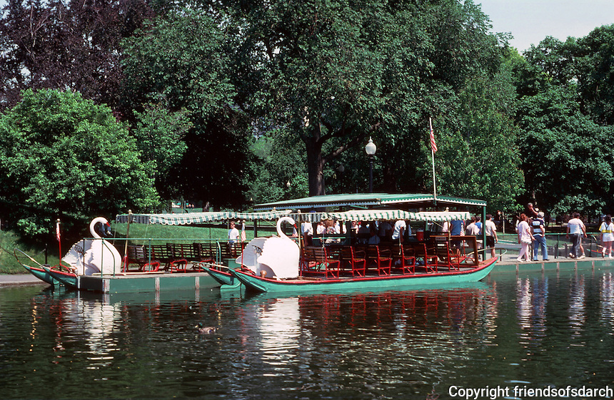 Boston:  Public Garden--Swan Boats.  Photo '88.