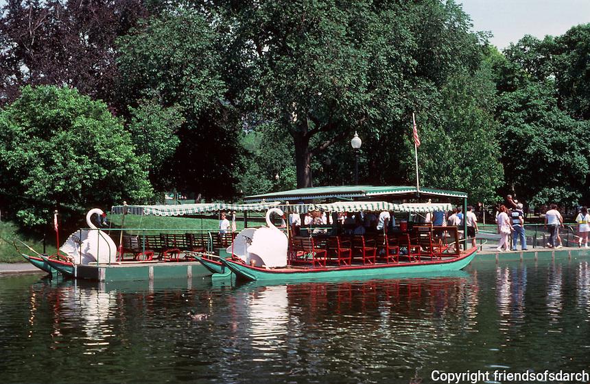 Boston:  Public Garden--Swan Boats.  Photo '88.