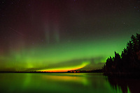 Salmon red makes this aurora more unusual than the green auroras.