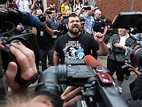 White Nationalist Matthew Heinbach blamed city and law enforcement officials for Saturday's violence as he spoke to the media outside Charlottesville District Court where James Alex Fields Jr., 20, of Maumee, Ohio, was arraigned on Monday. Photo/Andrew Shurtleff