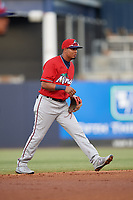 Fort Myers Miracle shortstop Luis Arraez (4) during a game against the Tampa Tarpons on May 2, 2018 at George M. Steinbrenner Field in Tampa, Florida.  Fort Myers defeated Tampa 5-0.  (Mike Janes/Four Seam Images)