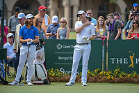 Tommy Fleetwood (ENG) chats with Justin Rose (GBR) before  round 3 of The Players Championship, TPC Sawgrass, at Ponte Vedra, Florida, USA. 5/12/2018.<br /> Picture: Golffile | Ken Murray<br /> <br /> <br /> All photo usage must carry mandatory copyright credit (&copy; Golffile | Ken Murray)