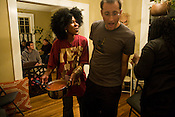 "Kia sets out the chilli during a ""first plack president party"" inside the home she shares with her partner local Durham poet Shirlette Ammons while awaiting the returns Tues., Nov. 4, 2008."