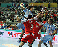 18.01.2013 Barcelona, Spain. IHF men's world championship, prelimanary round. Picture show Diego Simonet    in action during game between Arnetina vs Tunisia at Palau St Jordi