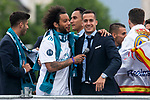 Real Madrid Marcelo and Lucas Vazquez during the celebration of the Thirteen Champions League at Cibeles Fountain in Madrid, Spain. May 27, 2018. (ALTERPHOTOS/Borja B.Hojas)