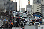 March 11, 2011, Tokyo, Japan - Roads blocked and public transport at a standstill following a severe earthquake that struck Japan's northeastern prefectures on Friday, March 11, 2011. Hundreds of people are feared dead after the country's biggest earthquake with a magnitude of 8.9 since records began struck the northeastern coasts, unleashing a 10-metre tsunami that swept away buildings, ships and vehicles. (Photo by AFLO) [3609] -mis-